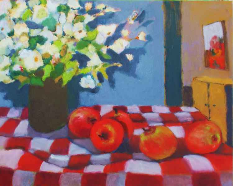Apples and Flowers on Checkered Cloth
