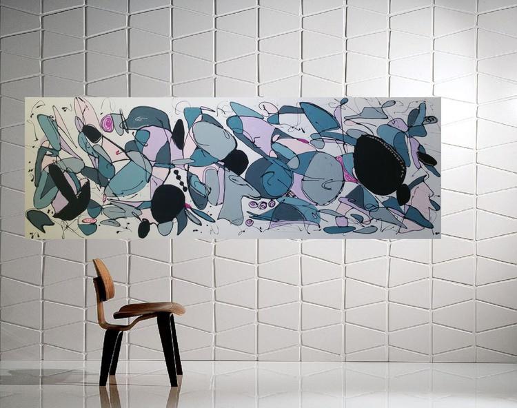 "67''x 23,5""( 170x60cm), Galaxies 4 Landscape,  orange painting , canvas art, home painting blue painting - Image 0"