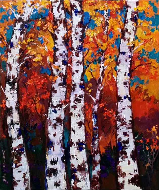 Birch Trees - Autumn landscape painting