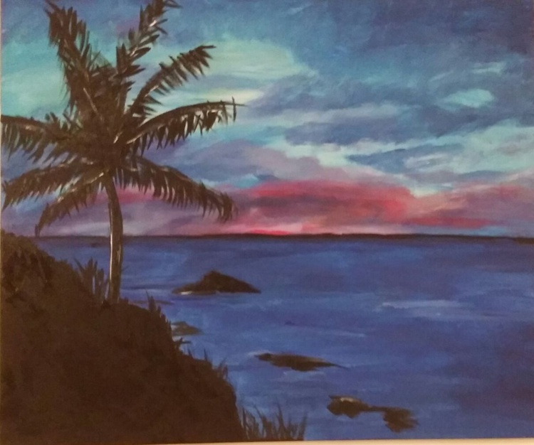 """""""Sunset in Paradise"""" - One of a kind - unique handpainted landscape beach sea theme - Image 0"""