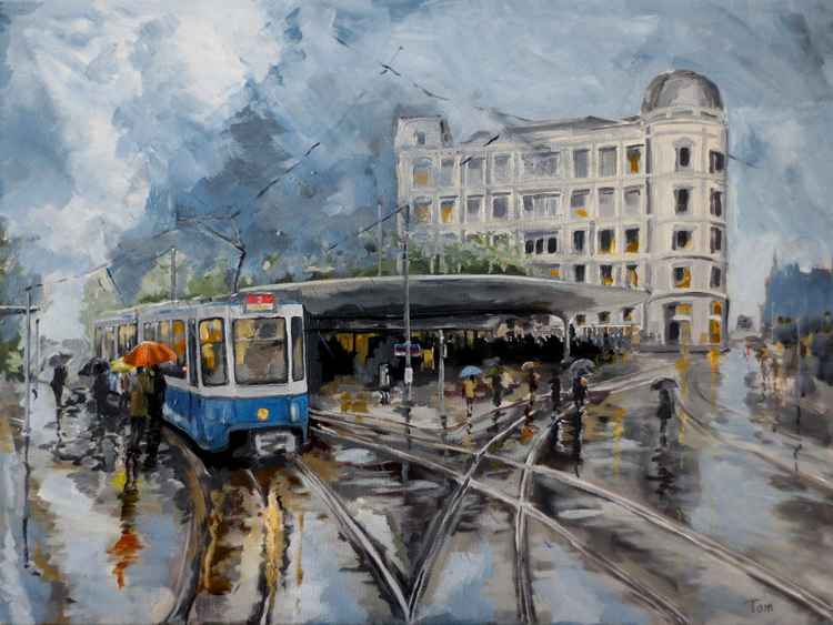 Bellevue tram stop in the rain -