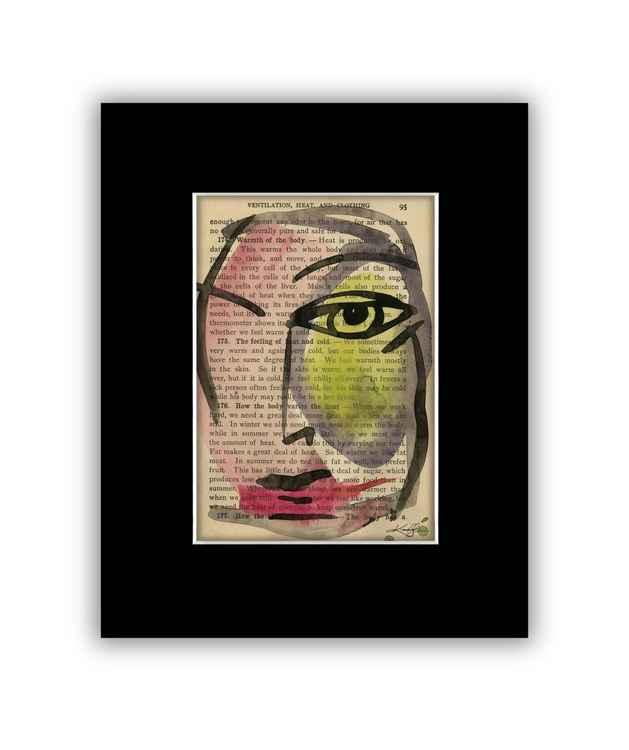 """""""I See 29"""" on Antique Book Page - Abstract Watercolor Painting -"""