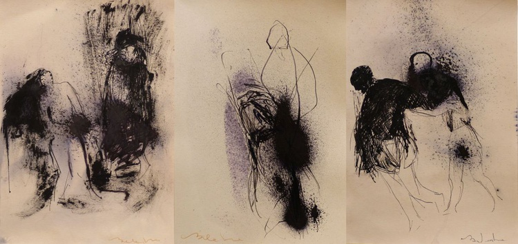 INTERDEPENDENCE - Triptych, 3 INK drawing 29x21 cm each - Image 0