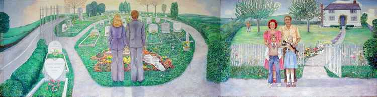 John and Mary a series of narrative paintings Part 5  Graveside  Mourning road leading back to Family Photo
