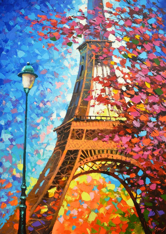 "Paris autumn - Oils acr. with Palette Knife Painting on Canvas by Dmitry Spiros. Size: 28""x40"" (70 cm x100 cm) - Image 0"