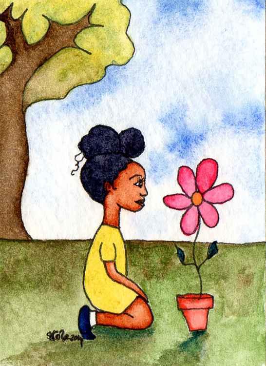 'Appreciating Nature' Original Watercolour ACEO -