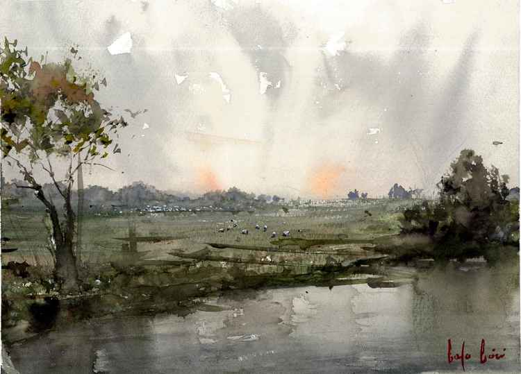 sunrise on the grassland watercolor painting