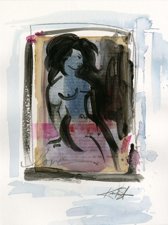Nude Love 5 - Abstract Mixed Media Painting - Image 0