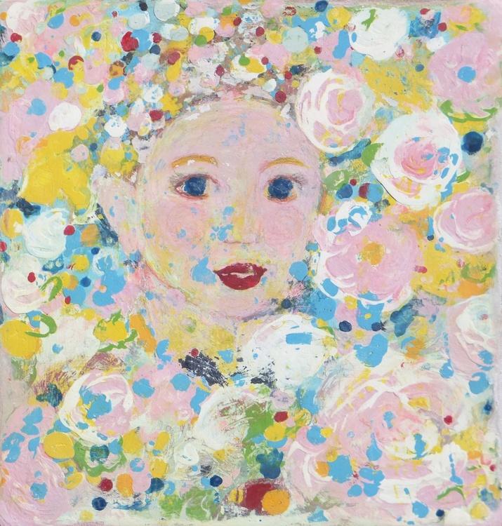 Girl in a rosegarden,decorative art,gift idea,home decor - Image 0
