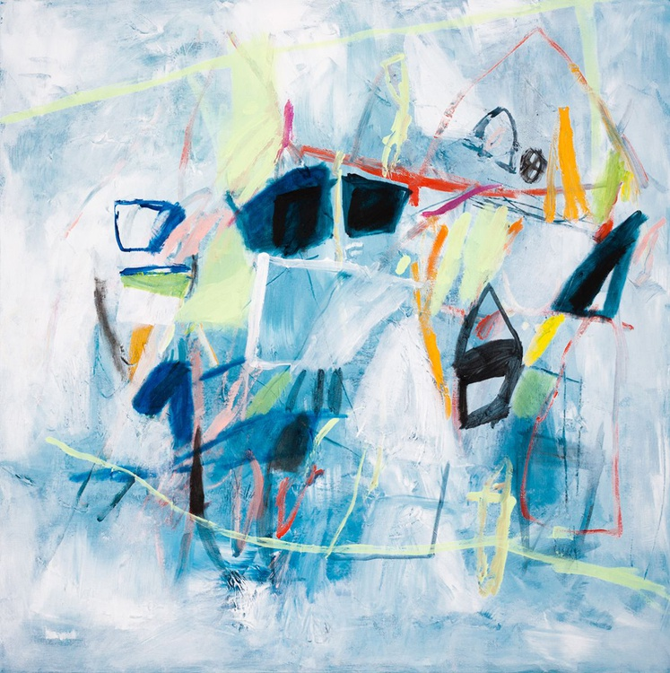 Houses In The Snow 02 (80x80 cm, Acrylic Abstract, Ready to Hang) - Image 0