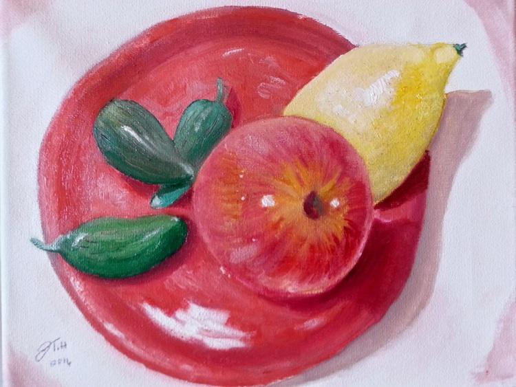 Gala Apple, Lemon&Peppers on a homemade platter - Image 0