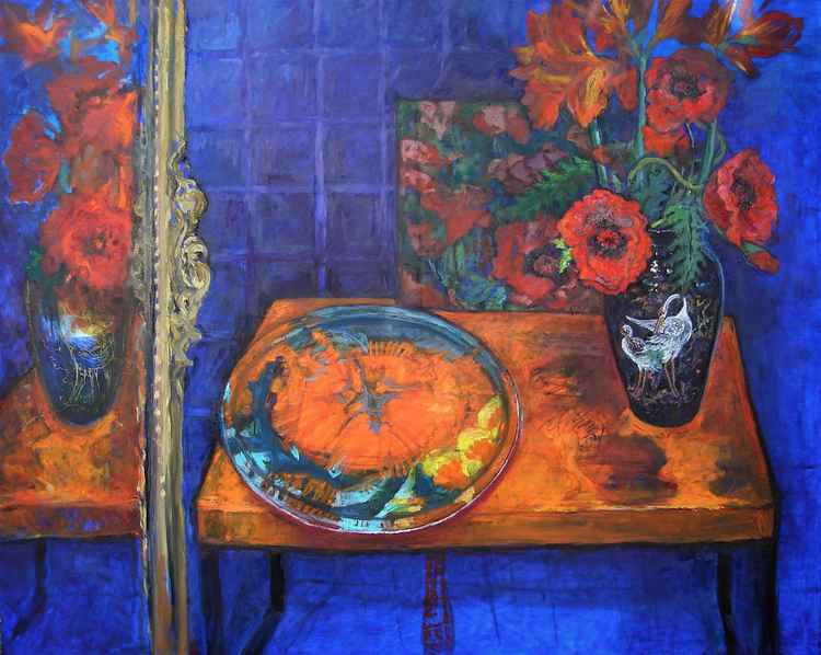 Poppies on Orange Table Still life -
