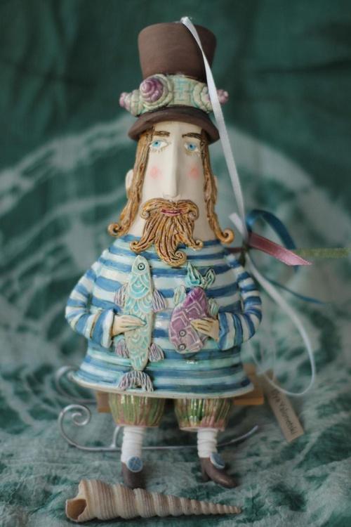 Fisherman, hanging sculpture. - Image 0