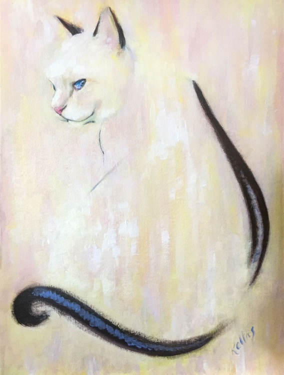Pink and Yellow Painting of Charlie - Image 0