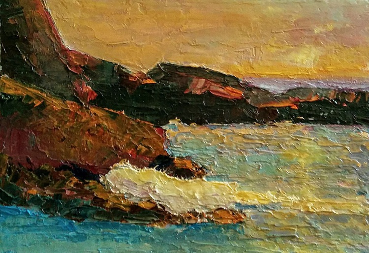 Framed Small paintings, Catching a Sunrise,  seascape - Image 0