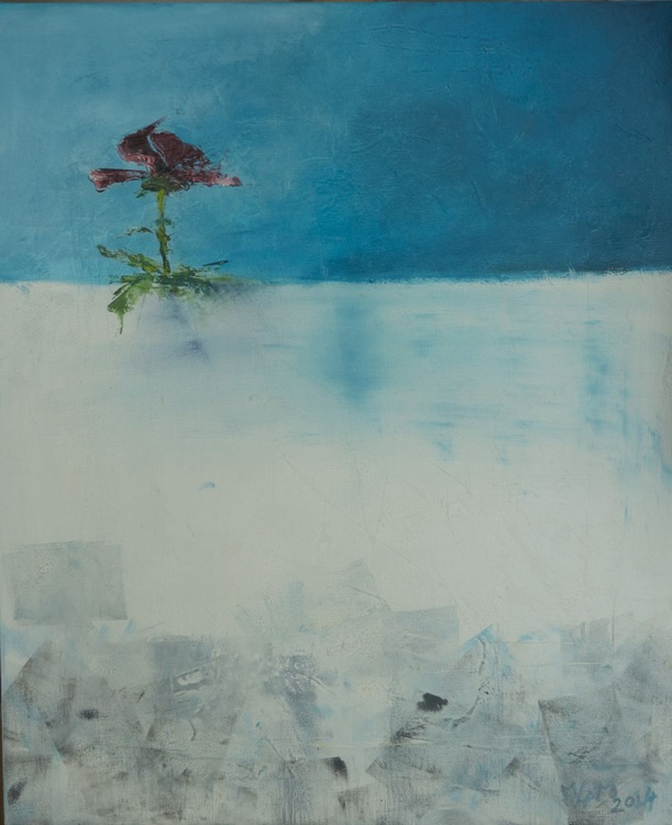 Winter - Flower in the snow original oil painting - Image 0