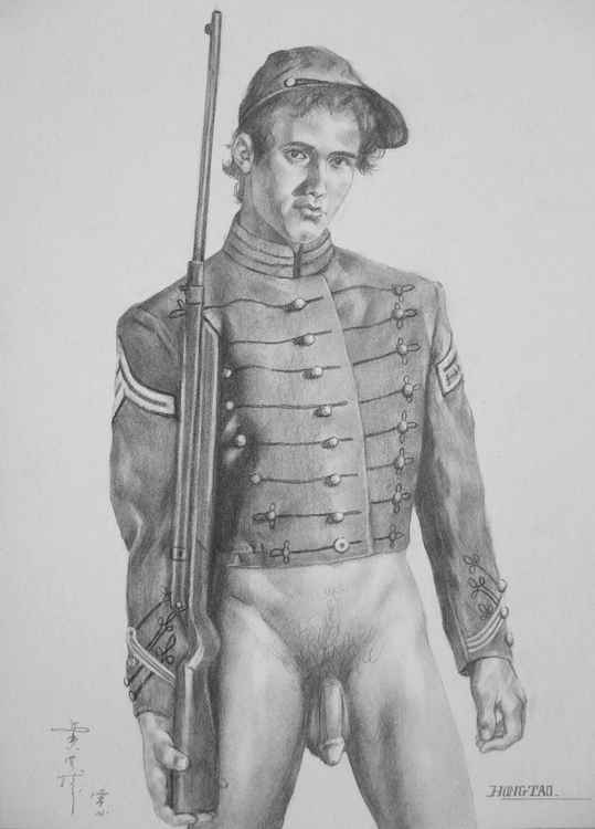 original art drawing charcoal solider of male nude  man on paper #16-4-24 -