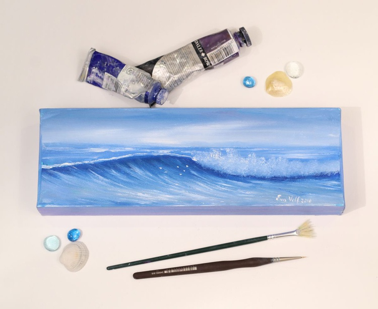 "Ocean Waves XV 12x4"" small seascape oil painting on canvas - Image 0"