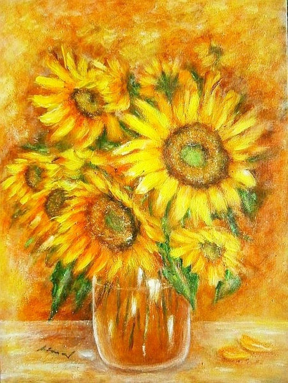 Sunflowers in a vase. . - Image 0