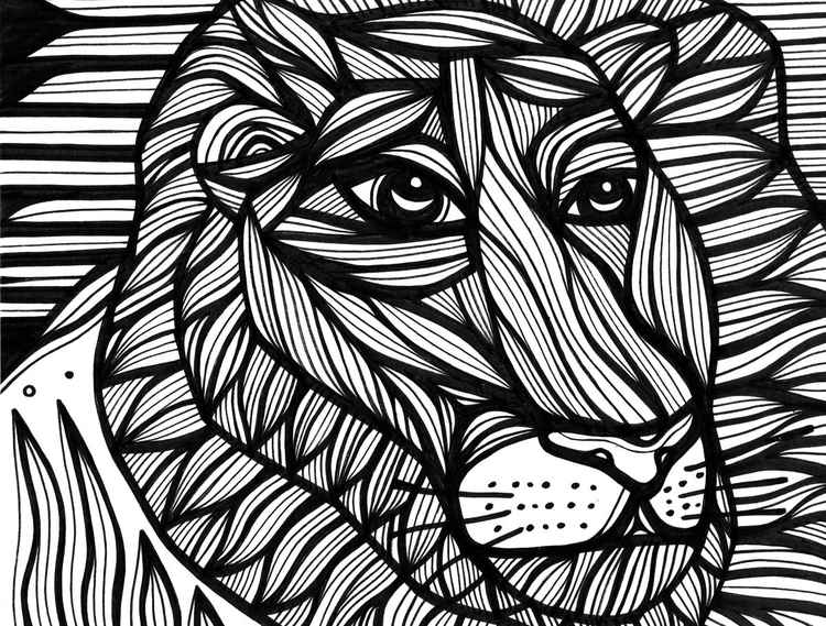Lion Face Uxorious Original Drawing -
