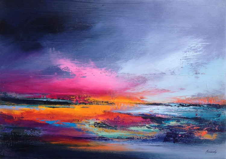 Gnossiennes II - 50 x 70 cm, abstract landscape oil painting, gray, purple, magenta, pink, orange - Image 0