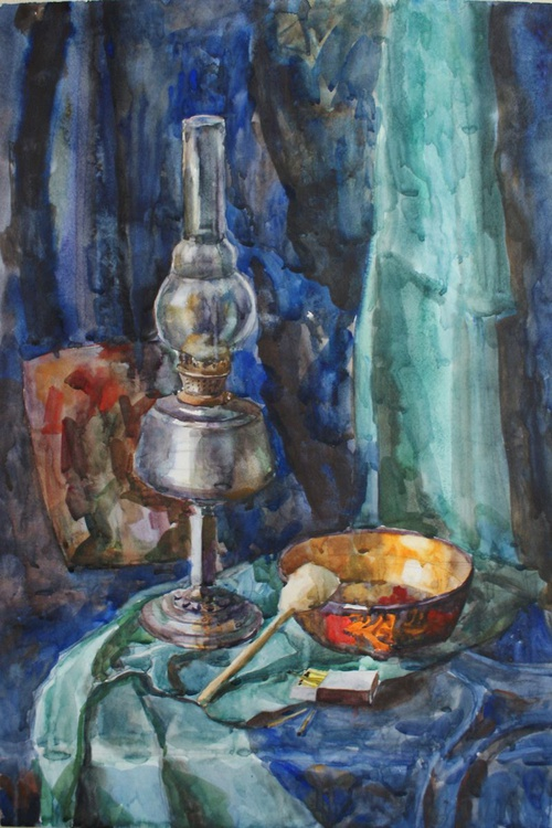 """""""Still life with Lamp"""". Free shipping. Watercolor. Size 50x70 cm - Image 0"""