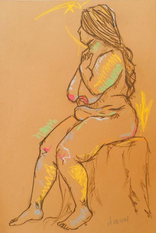 Female Nude Original Charcoal Pastel Figure Study Gesture Life Drawing Light Brown - Image 0