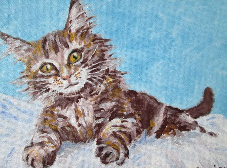 KITTEN LITTLE, Cat, baby animal, 7x5inch original acrylic painting, Gift for Cat lovers - Image 0