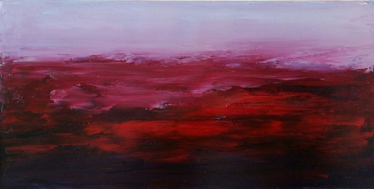 Purple Sunset 2, 35×18 cm, abstract original oil painting / FREE SHIPPING / present /gift - Image 0