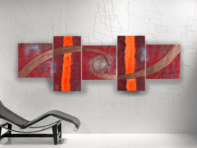 Abstract textured paintings 80x240x4 cm red copper OOAK XXL OFFICE decor original abstract art a75 big ready to hang painting acrylic on stretched canvas metallic textured glossy wall art by artist Ksavera - Image 0