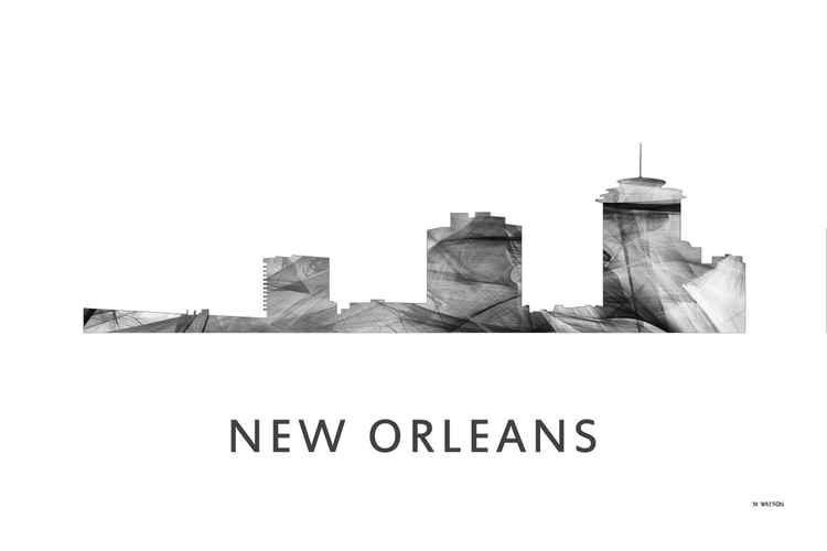 New Orleans Louisiana Skyline WB BW -