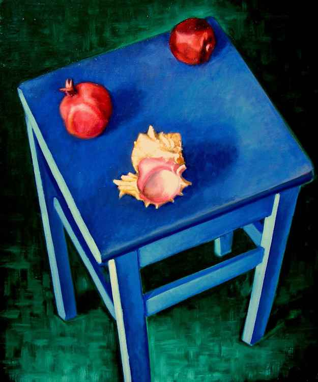 Shell on the Blue Tabouret