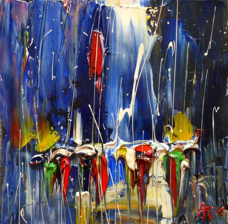 Rain,  oil painting on canvas 19x19 cm - Image 0