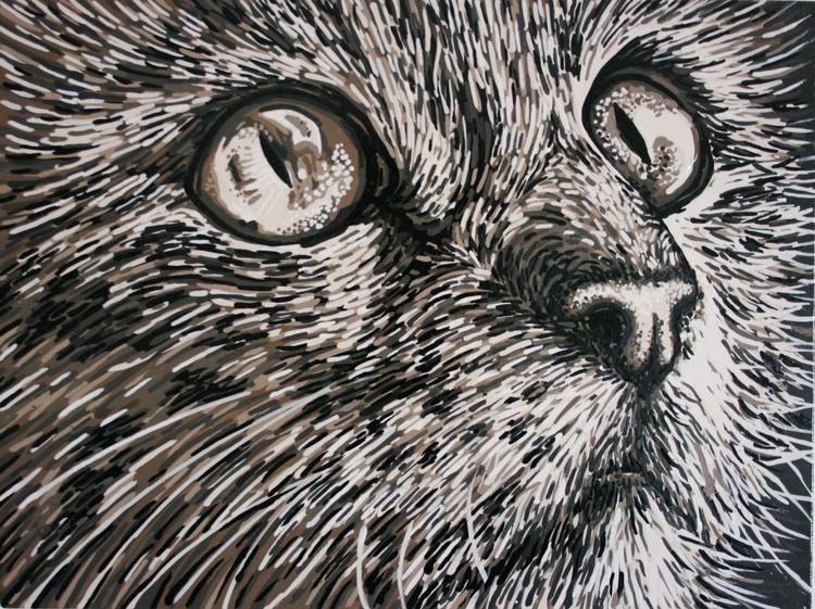 Star Gazey Cat. Mushroom monochrome. A3 - Image 0