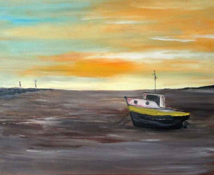 Little yellow boat palette knife painting