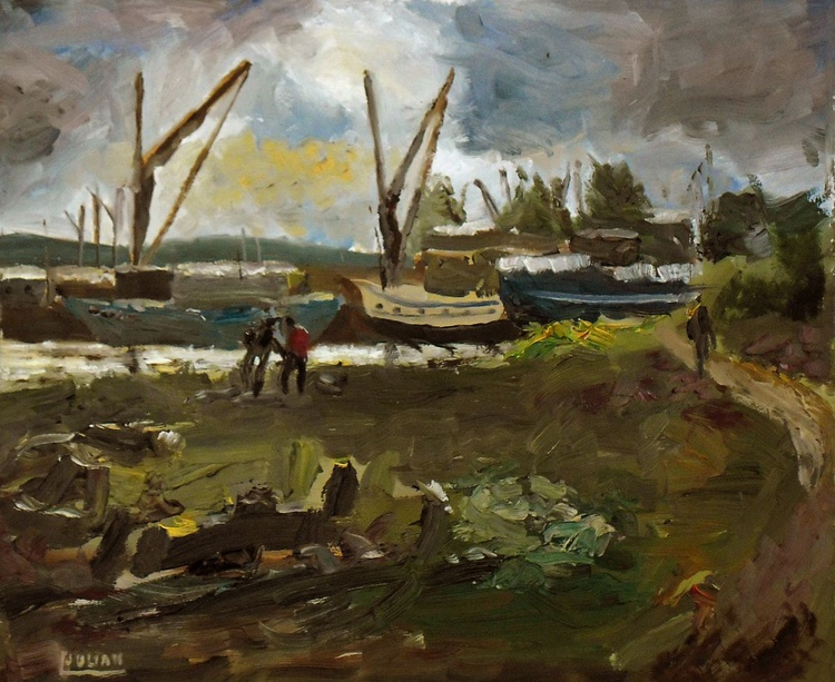 Boat Repairs at Hoo Marina - an original oil painting on board. Lovely gift! - Image 0