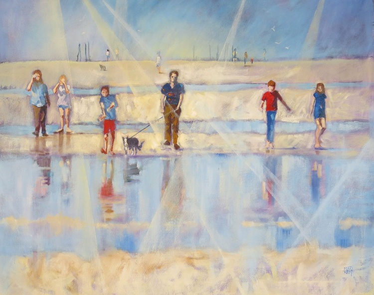 Seaside Day Out.  Beach Painting. - Image 0