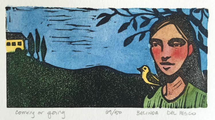 Coming or Going - Framed Color Linocut - Image 0
