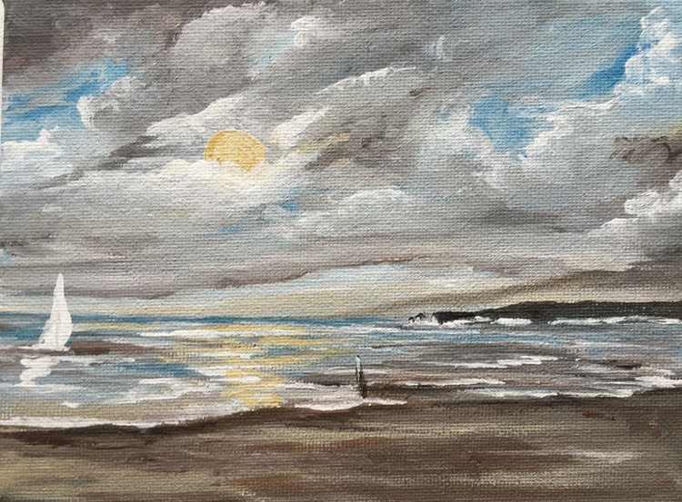 Storm over Old Harry Rock on a mini canvas - Image 0