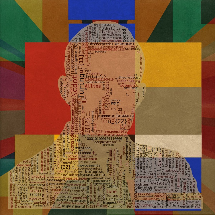 "Enigma - Abstract Geometric Pop Art Alan Turing Portrait 23.5""x23.5"" SQUARE - Image 0"