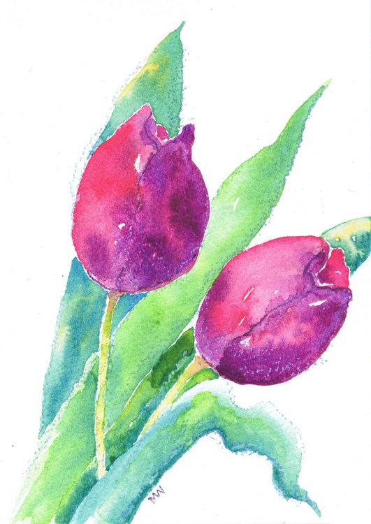 Two Purple Tulips (Framed) - Image 0