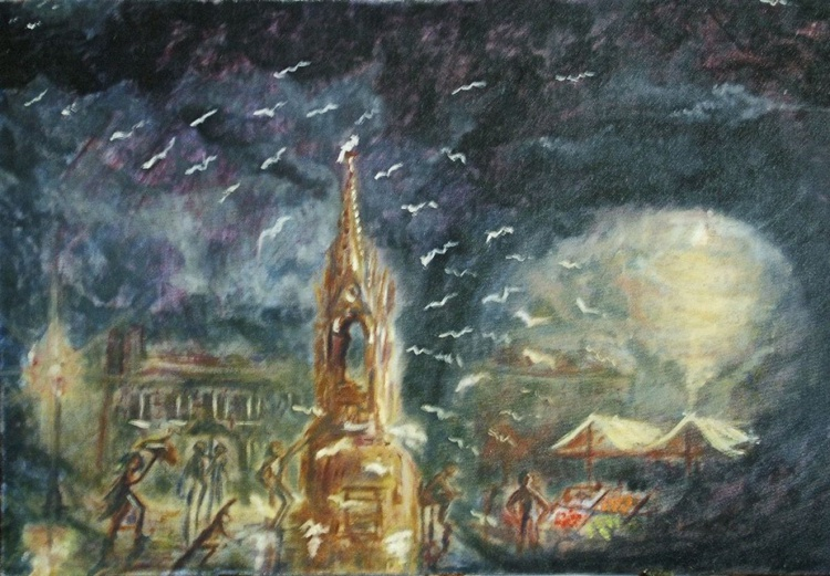 Market Day, Oncoming Rain. (Oil on board 30x20 inch) - Image 0