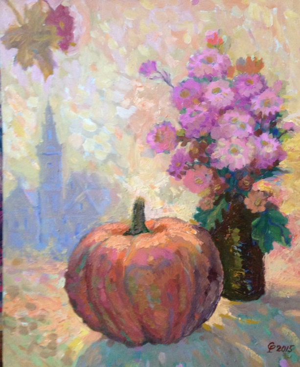 Still life with a pumpkin & autumn flowers - Image 0