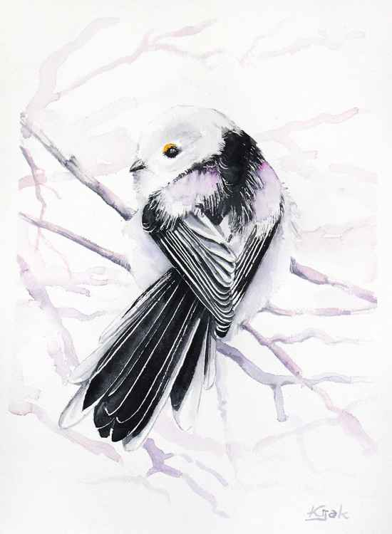 Long-tailed Tit -Original watercolors painting -