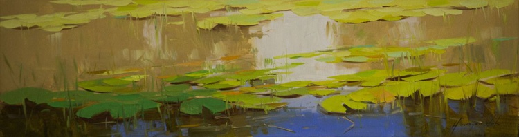 Water lilies Original oil Painting Large size Handmade artwork One of a Kind - Image 0