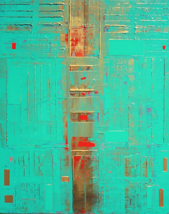 Teal Gold Abstract - Image 0
