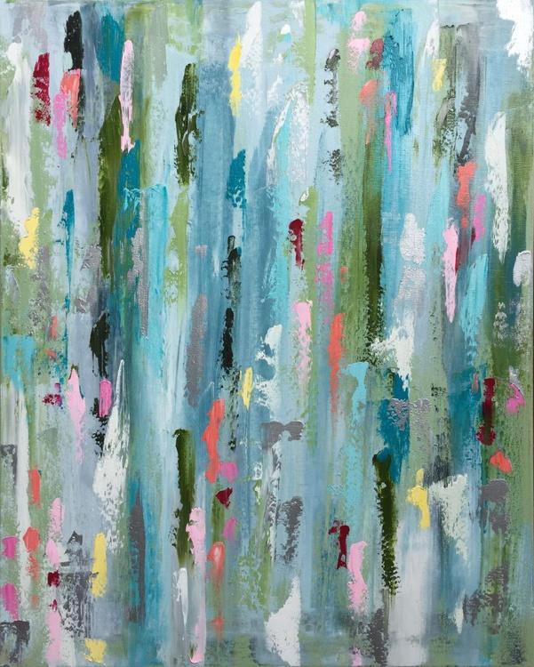 "Abstract Acid Rain 30""x24"" - Image 0"