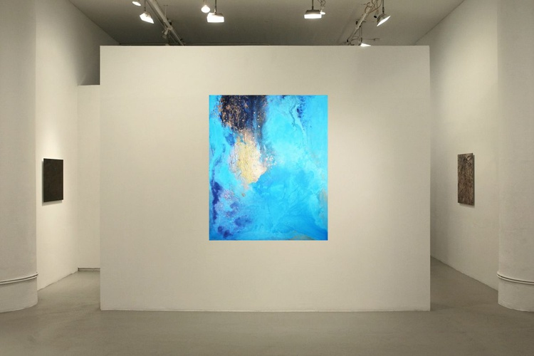 """Abstract blue and turquoise """"Cosmic elements 2 Love Odyssey"""" - Image 0"""