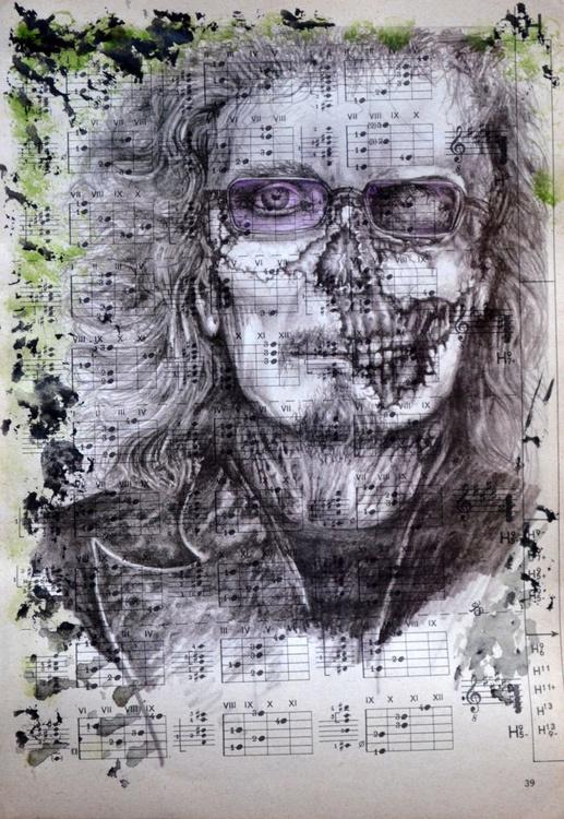 Tony Iommi Like A Zombie On Vintage Paper - Image 0