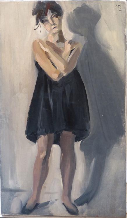 Black Dress, oil on canvas 26x45 cm - Image 0